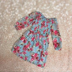 NEW girls blue floral ruffle detailed dress 8